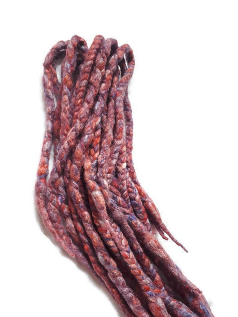 Wool dreadlocks red purple silk blended wrapped custom wool dreads- Double Ended Roving art hair extensions Kit