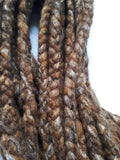 Wool dreadlocks brown silk blended wrapped custom wool dreads- Double Ended Roving art hair extensions Kit