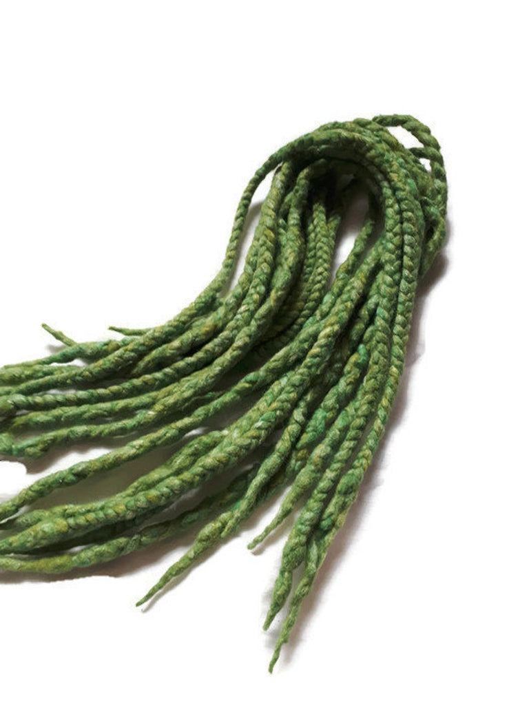 Wool dreadlocks green silk blended wrapped custom wool dreads- Double Ended Roving art hair extensions Kit