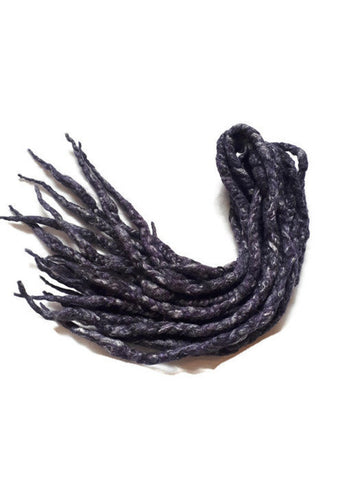 Wool dreadlocks dark purple silk blended wrapped custom wool dreads- Double Ended Roving art hair extensions Kit