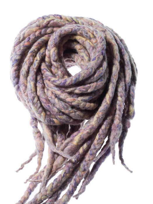 Wool dreadlocks blonde and rainbow pastel blended wrapped custom wool dreads- Double Ended Roving art hair extensions Kit