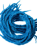 Wool dreadlocks Blue and Silk wrapped custom wool dreads- Double Ended Roving art hair extensions Kit