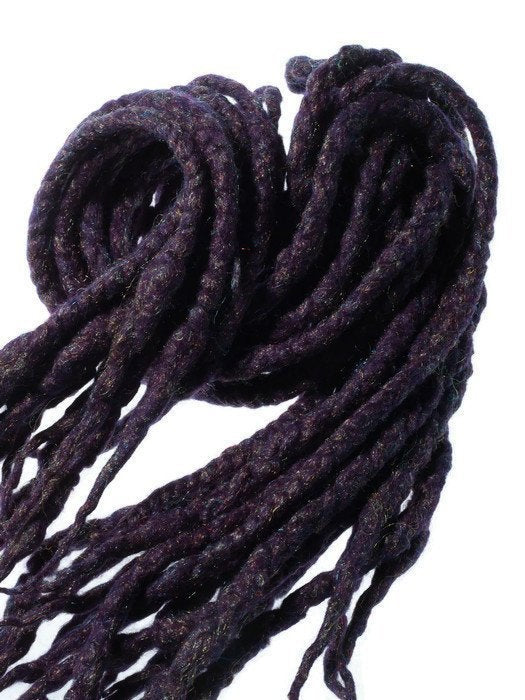 Wool dreadlocks dark purple glitzy glitter wrapped custom wool dreads- Double Ended Roving art hair extensions Kit