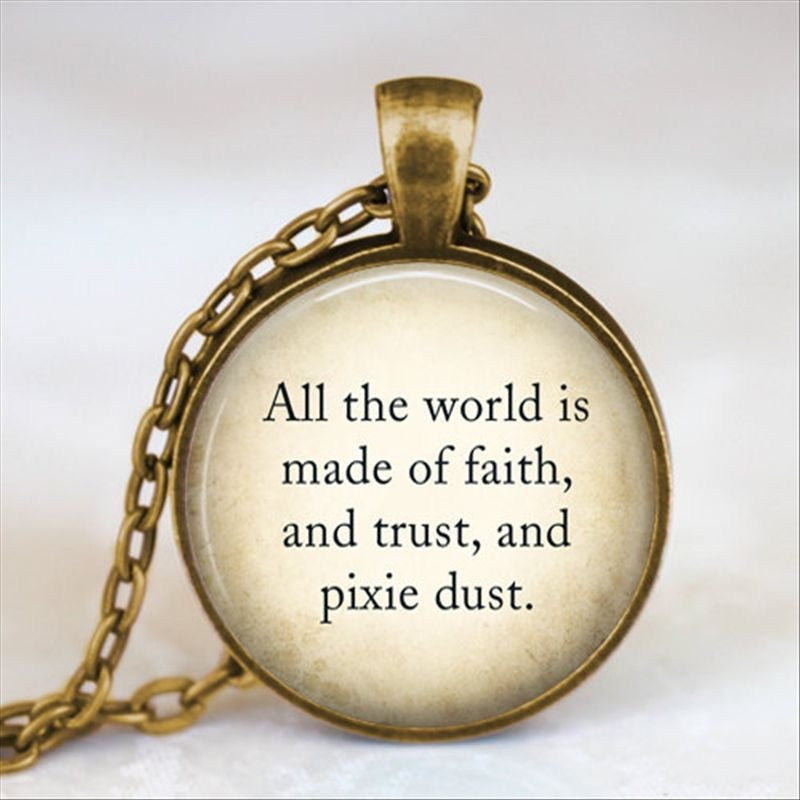 Peter Pan Pixie Dust Quote Necklace