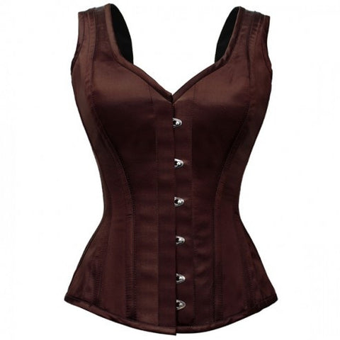 Brown Satin Steel Boned Steampunk Corset - Dragon Dreads