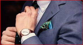 wearing wrist watch with men's formal suits