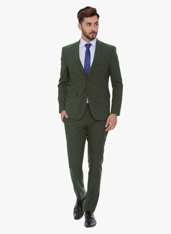 Olive Solid Men's Suit (ST0078)