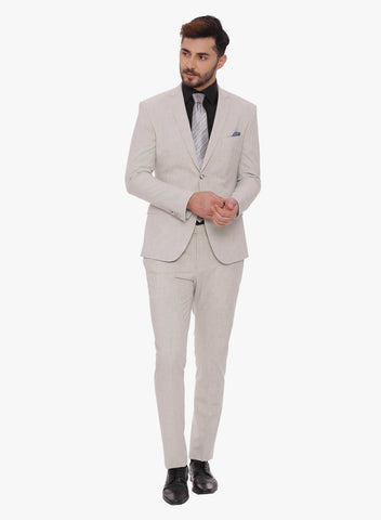 Cream Solid Men's Suit (ST0087)