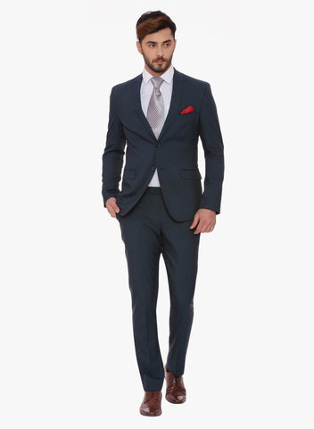 Navy Peak Lapel Men's Suit (ST0086)