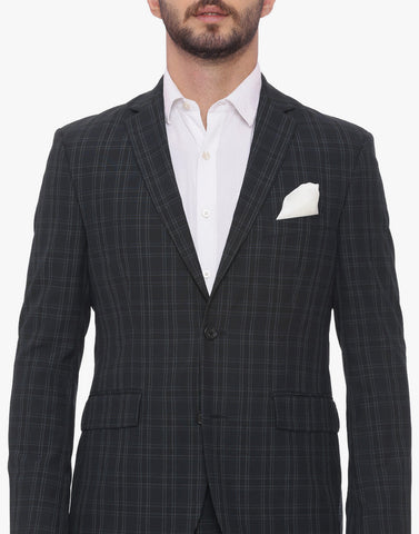 Navy Plaid Men's Suit (ST0085)
