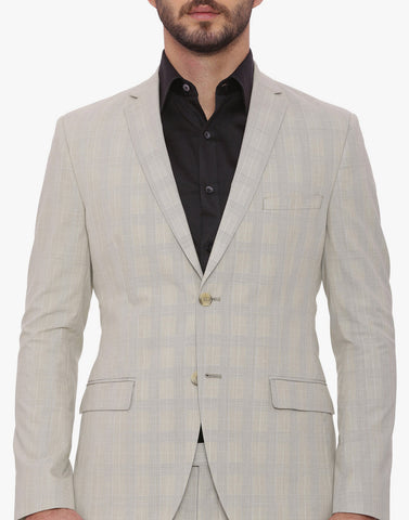 Beige Glen plaid checks Men's Suit (ST0076)