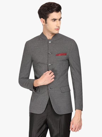 Grey Solid Men's Bandhgala Jacket (JT0327)