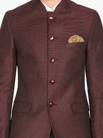 Maroon Textured Men's Bandhgala Jacket (JT0325)