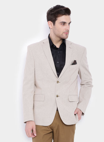 Beige Stripe Linen Men's Jacket (JT0228)