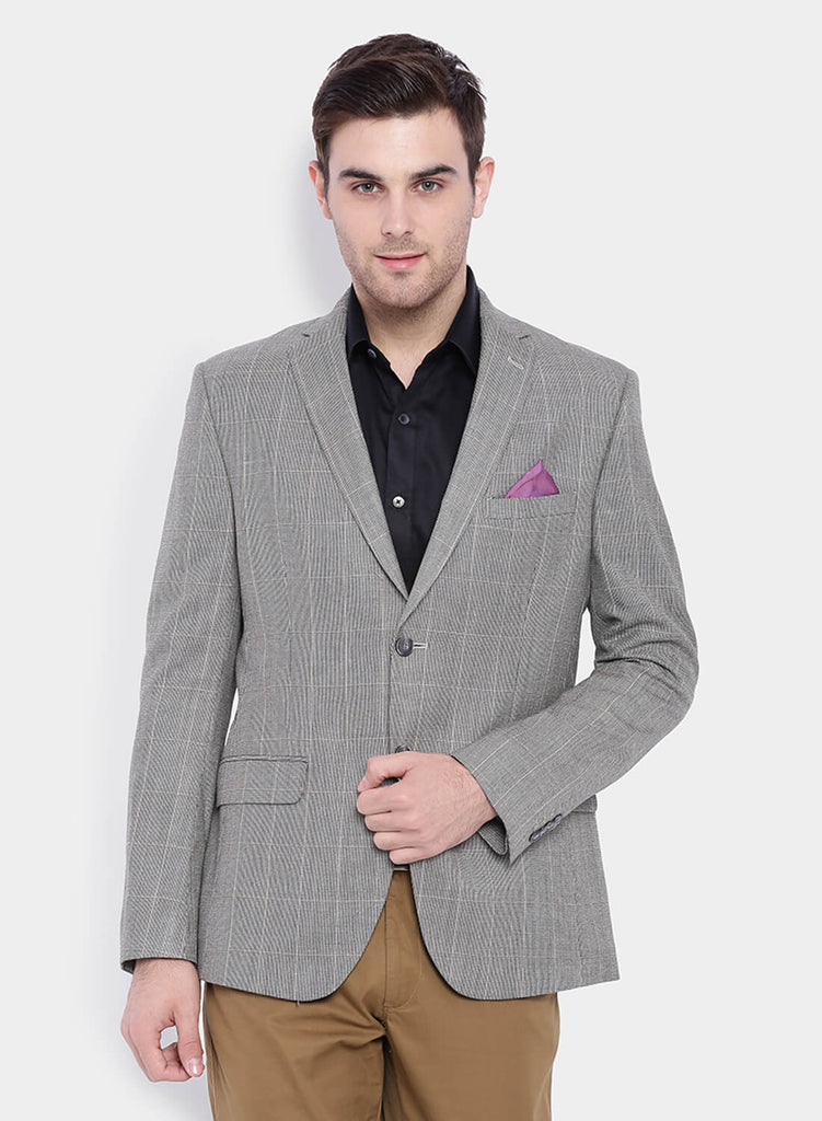 Beige Windowpane Silk Wool Men