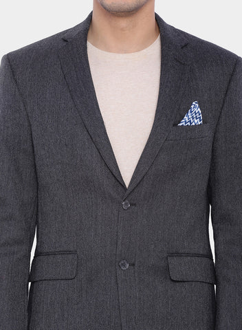 Black Herringbone Wool Men's Jacket (JT0150)