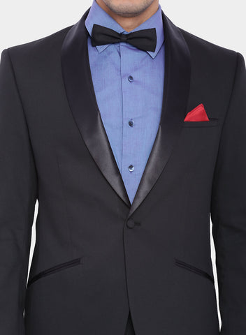 Black Jacquard Satin Trim Men's Tuxedo Jacket (2007)