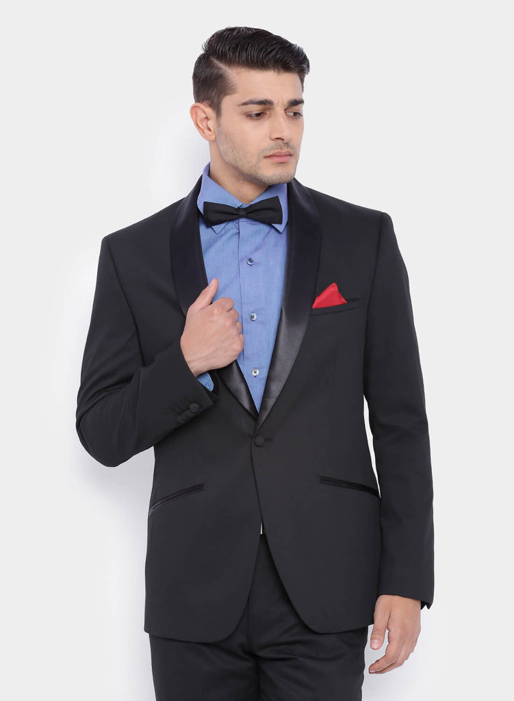 Black Jacquard Satin Trim Men