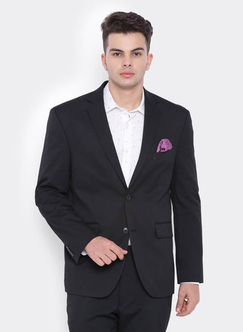 Black  Plain Men's Jacket (2065)