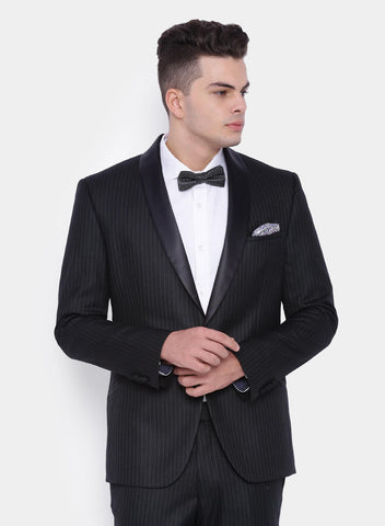 Black Stripe Satin Shawl Men's Tuxedo Jacket (2064)