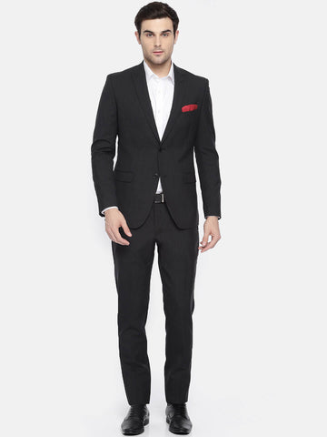 Black Pin-Stripe Wool Men's Suit (ST0119)