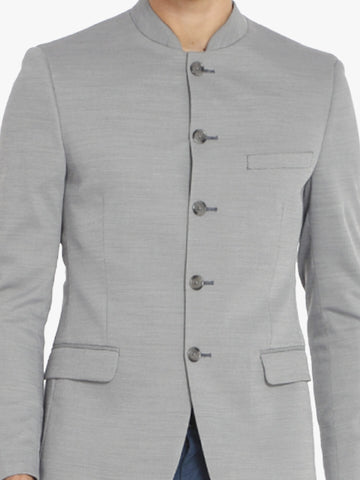 Black & White Textured Men's Bandhgala Jacket (JT0333)