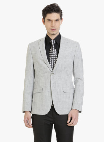 Light Grey Textured Men's Jacket (JT0287)