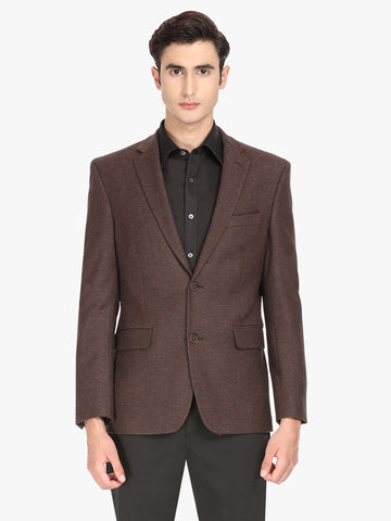 Dark Brown Textured Men's Jacket (JT0356)