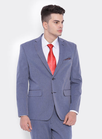 Blue Textured Men's Jacket (2062)