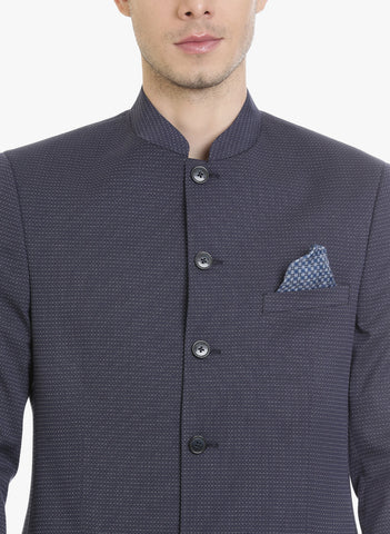 Navy Dotted Dobby Bandhgala Men's Jacket (JT0319)