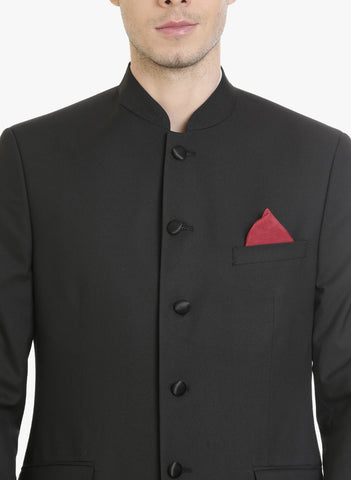 Black Textured Bandhgala Men's Jacket (JT0318)