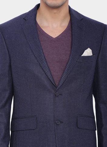 Dark Blue Houndstooth Wool Men's Jacket (JT0159)