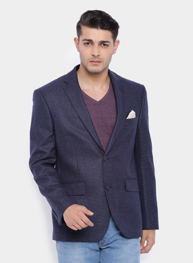 Dark Blue Houndstooth Wool Men