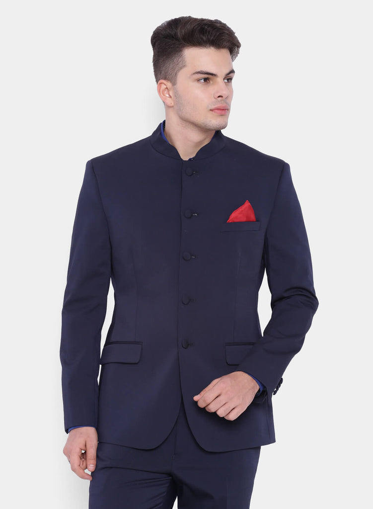 Dark Navy Dobby Bandhgala Men