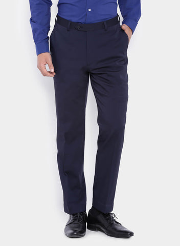 Dark Navy Solid Men's Trouser (2016)