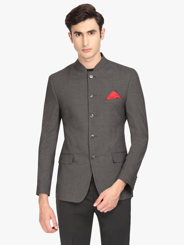 Grey Solid Men's Bandhgala Jacket (JT0329)