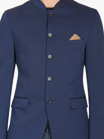Blue Textured Bandhgala Men's Jacket (JT0331)