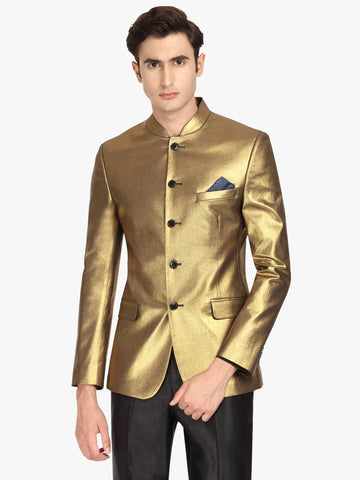 Gold-Toned Solid Bandhgala Men's Jacket (JT0332)