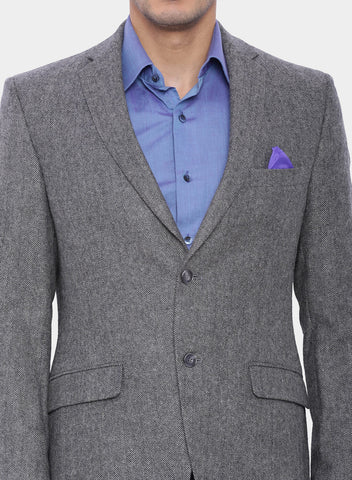 Grey Herringbone Wool Men's Jacket (JT0147)