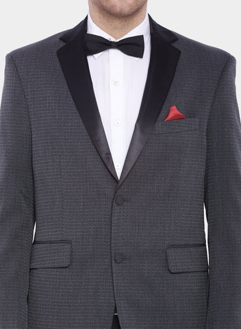 Grey Self design Tuxedo Men's Jacket (JT0221)