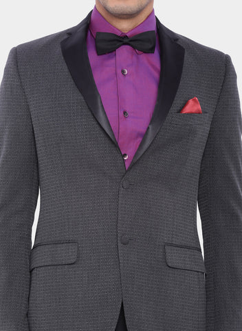 Grey Self design Tuxedo Men's Jacket (JT0220)