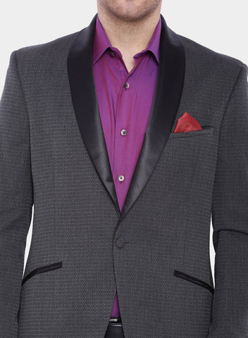 Grey Self design Tuxedo Men's Jacket (JT0218)