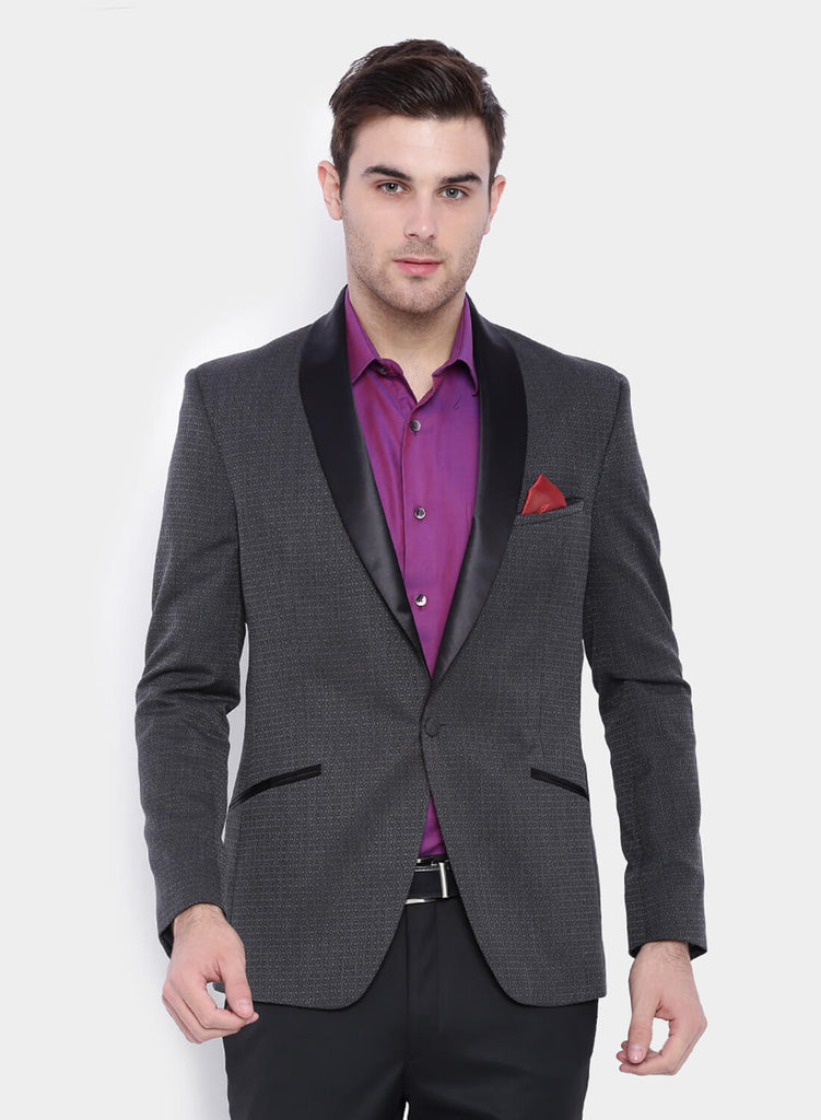 Grey Self design Tuxedo Men