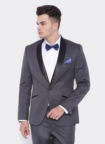 Grey Solid Men's Tuxedo Jacket (2000)