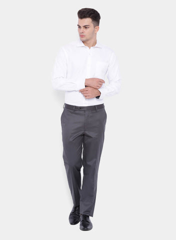 Grey Solid Men's  Trouser (2000)