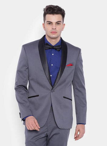 Grey Solid Twill Men's Tuxedo Jacket (2057)