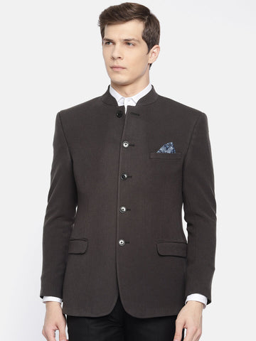 Black Solid Bandhgala Men's Jacket (JT0326)