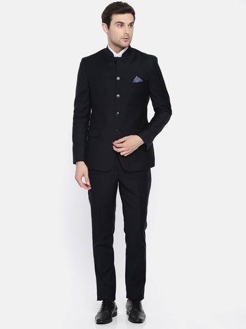 Black  Wool Men's Bandhgala Suit (ST0101)