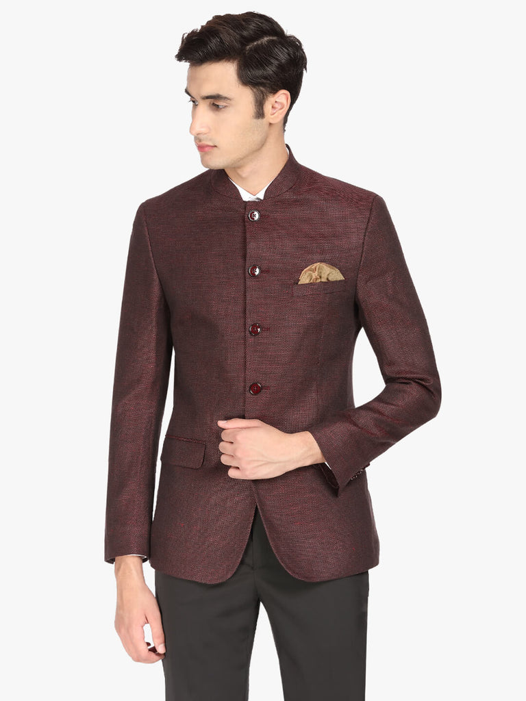 Maroon Textured Men