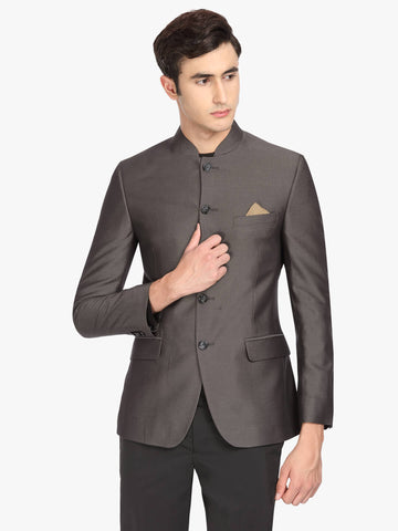 Grey Solid Men's Bandhgala Jacket (JT0324)
